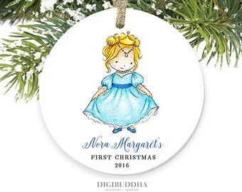 Princess Ornament Baby's First Christmas Ornament New Baby Girl Ornament Blonde Girl Christmas Ornament Personalized Baby Ornament Newborn