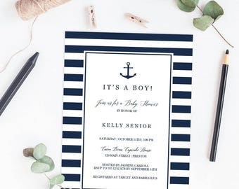 Nautical Baby Shower Invitation Boy Printable Anchor Baby Shower Invitations Navy Blue Baby Shower Invites Boy Baby Boy Shower Invitation