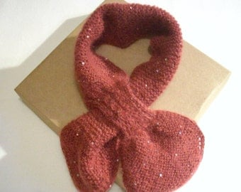 Hand-knitted ladies scarf, loop scarf, mohair and silk scarf, gift for her, birthday gift, Christmas gift for her, lace weight scarf