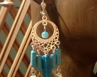 Blue turquoise, silver chandelier earrings