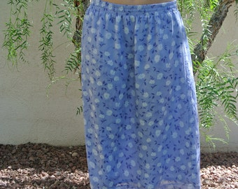 1970s/80s BLUE FLORAL SKIRT// Bon Worth// size medium// vintage
