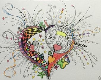 Heart drawing in Doodle Zen art 30 x 38 cm