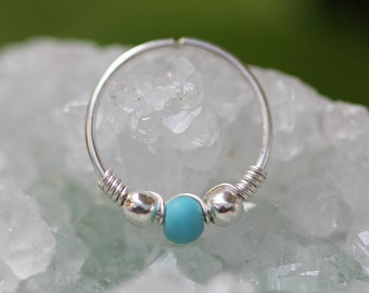 Silver Nose Hoop,turquoise piercing,Extra tiny hoop,thin helix hoop,turquoise hoop,cartilage earring,Nostril Hoop,Nostril jewelry