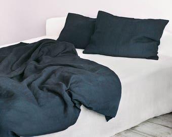 set dark grey linen duvet cover and 2 pillowcases soft pure organic linen