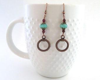 Copper Earrings - Beaded Earrings - Garnet Earrings - Dangle Earrings - Unique Earrings - Gift for Her