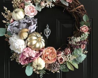 NEW FALL COLLECTION Enchanted Pumpkin Wreath Fall Door Wreath