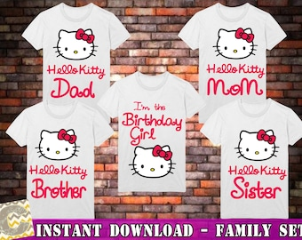 5 Hello Kitty Shirt, Birthday Family Shirt, Hello Kitty , Hello Kitty party, Hello Kitty Iron On Transfer, Instant Download , Digital Files
