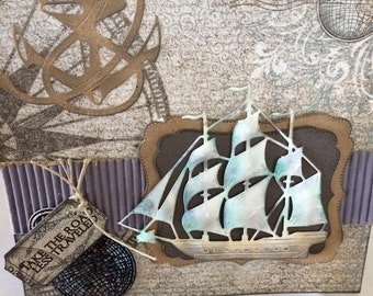 Nautical/Travel themed card for men, birthday, retirement, Father's Day, graduation, just because, any occasion, 3 mast ship,