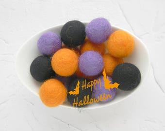 25 mm halloween felt balls 25 cm purple orange black wool felt balls halloween garland halloween - Halloween Pom Poms