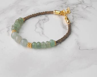 New Jade and Adventurine Bracelet // Beaded Gemstone Bracelet // Stacking Bracelet // Gold and Green Bracelet // Gifts for Her