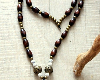 OWL necklace, bronze and gem beads