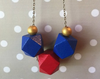 Statement Necklace // Cobalt and Red Geometric Trio