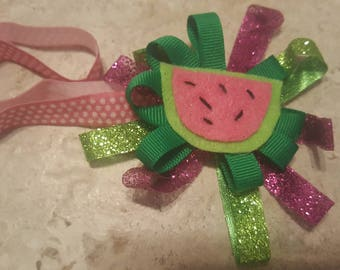 Watermelon Headband Pink and Green Sparkles Swiss Dot Elastic 6 to 12 Months