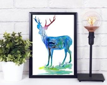 abstract deer print - abstract deer art - abstract deer - abstract stag print - stag print - deer printable - deer printable wall art - deer