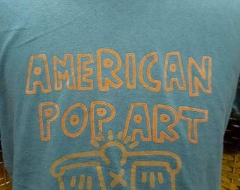 Vintage Keith Haring great art design full print gold colour pop art design / american pop art