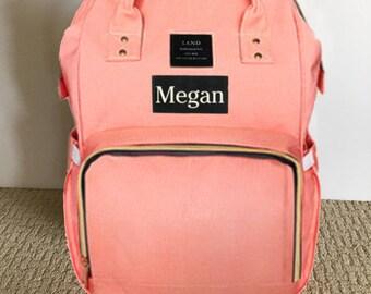LAND Diaper Bag Backpack Diaper Backpack Nursing Bag - Coral Pink