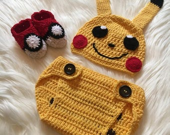 Hand Crochet Pikachu Baby Beanie, nappy cover and booties/ / Crochet Baby Clothes/ Cotton Baby Knitwear/ Kids Winter Clothes/Pikachu