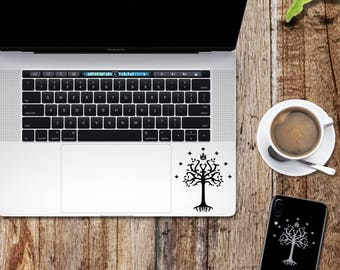 Lord of the Rings decal; White tree of Gondor glitter sticker for laptop, macbook, car, notebook, tablet, phone, mac