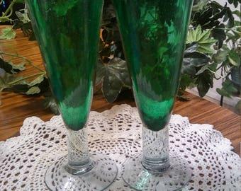 A pair of Vintage Hunter Green Champagne/ Parfait flute goblets