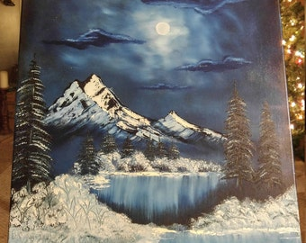 Winter night oil oainting