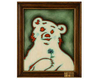 Bear painting original , Grizzly bear , Polar Bear oil painting  , White bear , Bear in love by Yaroslav Stetsenko