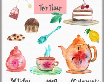 Watercolor hand painted clipart, Tea time clipart, Tea clip art, Teacup clipart, cookies clipart, Watercolor tea time, Tea party clipart