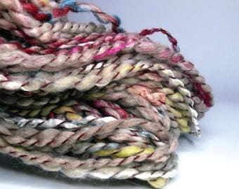 "Handspun textured art yarn ""Nonna"", handdyed, for weaving, knitting, crocheting, felting, doll hair, sewing/embroidery"
