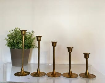 Set of 5 of Vintage Brass Gold Tulip Base Candlestick Candle Holders Mid Century Taper