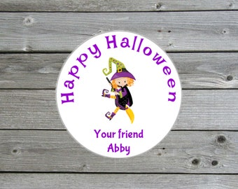 Personalized Halloween Stickers - Trick or Treat Stickers - Halloween Witch - Halloween Party Favors - Halloween Favors - Halloween Treats