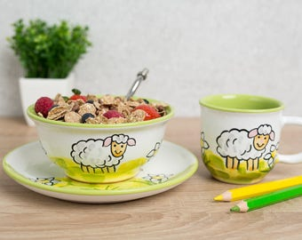 City To Cottage Handmade Hand Painted Sheep Colourful Kids Dinnerware Set  Of 3