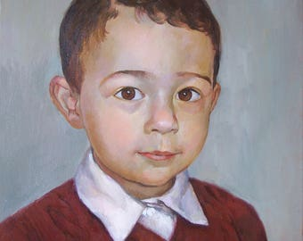 Kid Portrait Oil on Canvas, 40x30 cm, 50x40 cm, family gift, two 20x30 portraits discount, multiple size options, preview before shipping