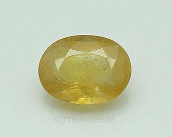 6.30 ct yellow sapphire oval cut 9.8x13.2x5.2 mm loose gemstone