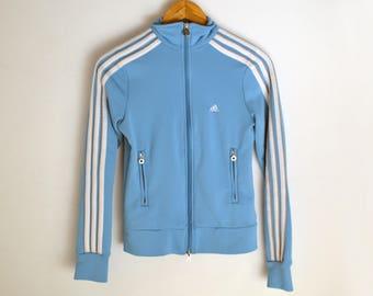 Adidas jacket women small Vintage Adidas jacket Adidas windbreaker 3 stripes jacket Adidas jacket women xs Blue jacket Retro jacket