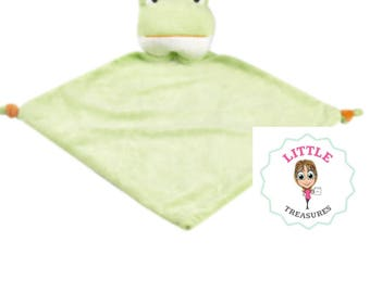 Personalised frog green cubbie comforter
