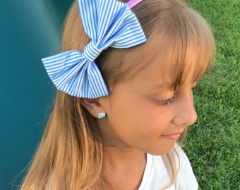 Blue and White Striped Headband,