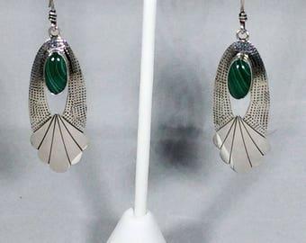 Malachite Sterling Silver Earrings Southwestern Native American Dangle Earrings