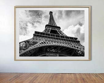 Tower Print, Paris Poster, Eiffel Tower Wall Print, Black and White Print, Printable Wall Art,Paris Black and White Photography,Large Poster