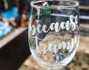 Because Trump Glass - Anti-Trump Glass - Choose from Wine, Pint, Pilsner, Whiskey Glass or Shot Glass Set