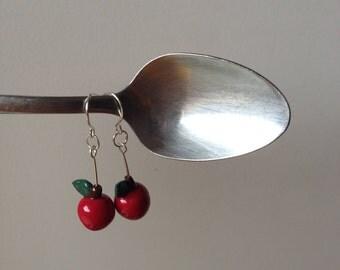 Apple earrings, polymer clay handmade stainless steel earrings