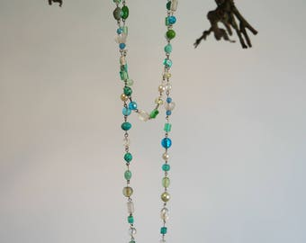 Necklace glassbeads blue & green