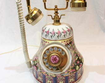 "Vintage Rotary Telephone Wild Rose; 13"" Tall Made in Japan"