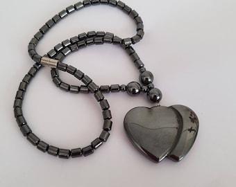 Hematite Double Heart Pendant Beaded Necklace