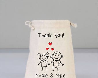 Cotton bags drawstring, stick person gifts, stick man, bridal shower, bridal shower gift, wedding bag, bridesmaid gifts, red love heart
