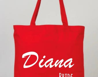 Red Cotton Wedding Tote Bag, Bridesmaid Bags, Wedding Gifts, Red Bridal, Red Wedding Bag, Personalized Party Favors, Red Bride Tote,