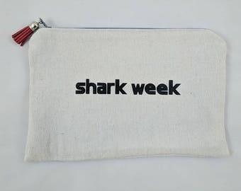 shark week zippered pouch make up case