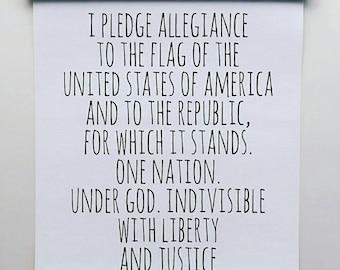 Pledge Of Allegiance Wall Banner|Homeschool Wall Decor|Allegiance Wall Print|USA Print|Classroom Wall Art|Pledge Of Allegiance Sign
