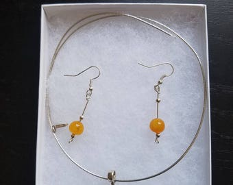 Amber Pendant and Sterling Silver Necklaces with Matching Earrings  #10