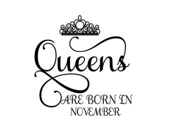 Queens are Born in November SVG Crown