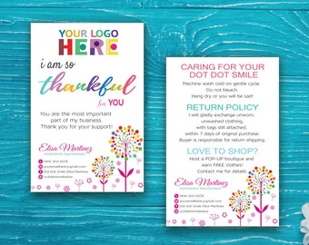 Dot Dot Smile Thank You Card, Dot Dot Smile Care Instruction, DDS Marketing, Dot Dot Smile Printable Card, DDS Thank You DDS50