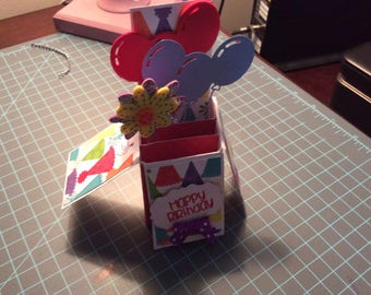 Handmade box card. Folds up to put in envelope.